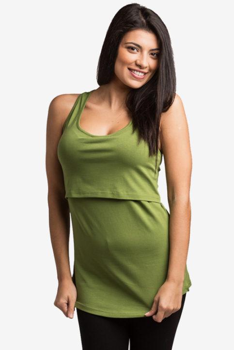 Camiseta tirantes lactancia embarazo verde manzana