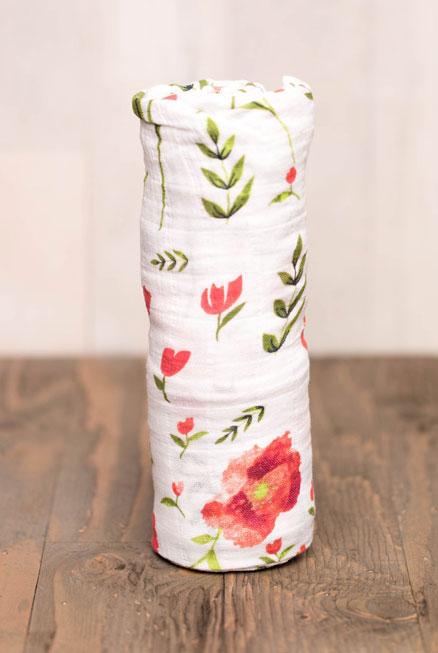 Muselina bambú amapolas Poppy verano 120*120 cm
