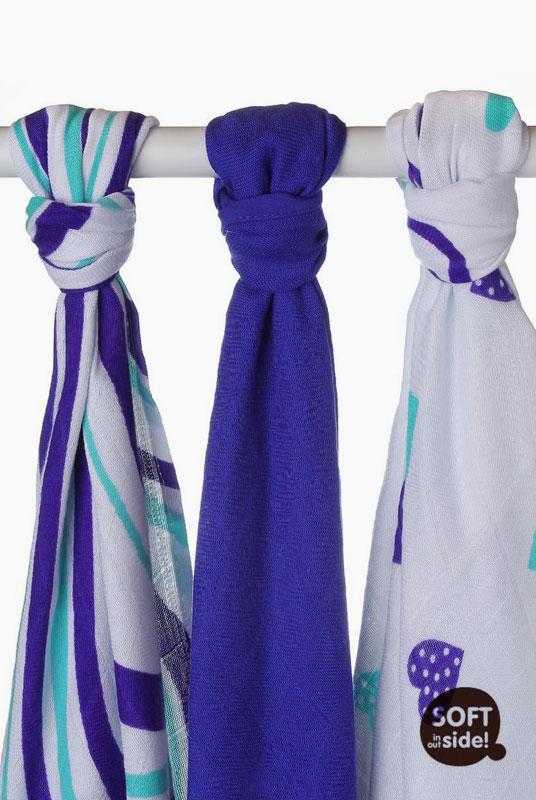 3 Muselinas bambú Hearts Azul 70x70cm
