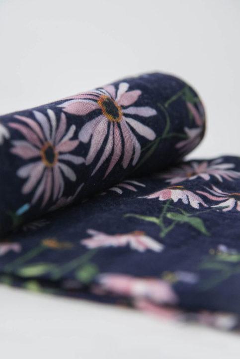 muselina flores azul oscuro