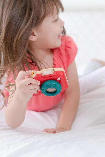 cámara juguete madera calidoscopio