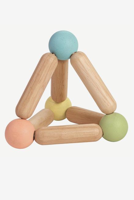 Sonajero triángulo cascabel bebe madera eco