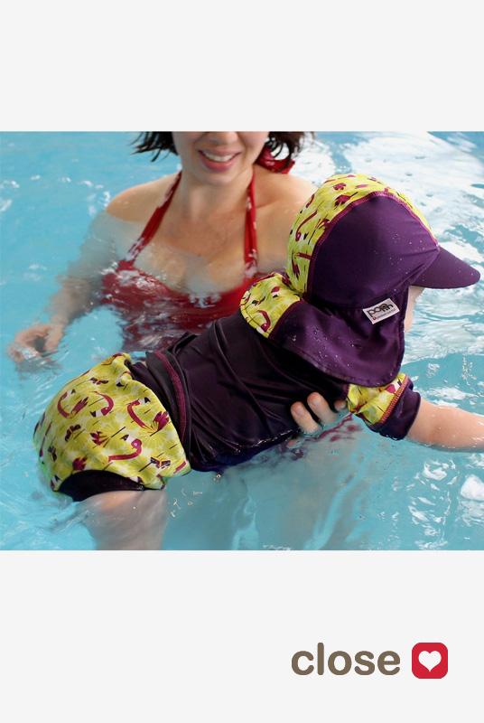 Bañador pañal tela natación anti-escapes bebé