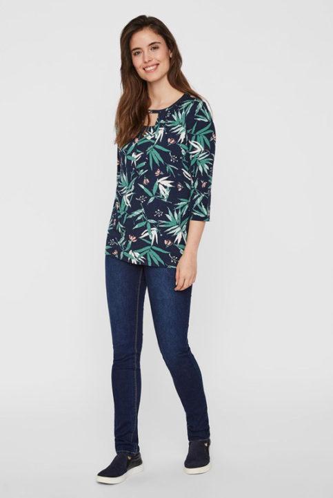 Blusa lactancia tropical hojas