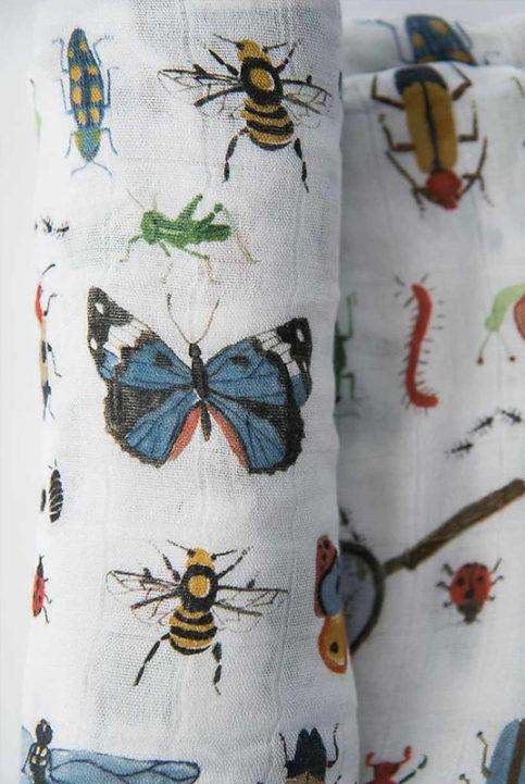 Muselina estampada bichos insectos colorido