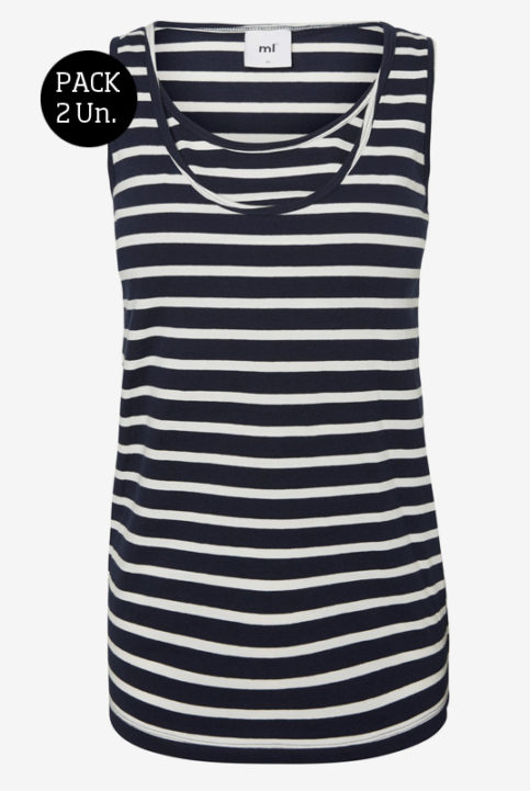 Pack camisetas lactancia rayas negras sin mangas