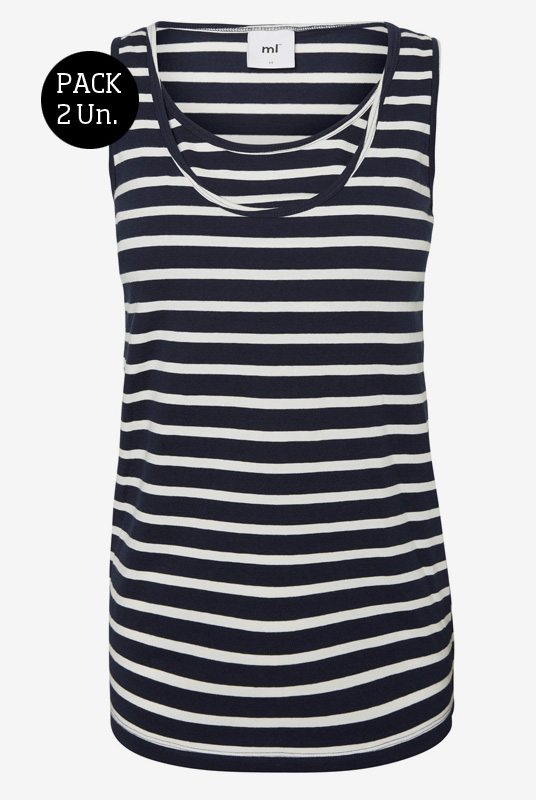 0ccefb5afbb Pack camisetas lactancia rayas negras sin mangas