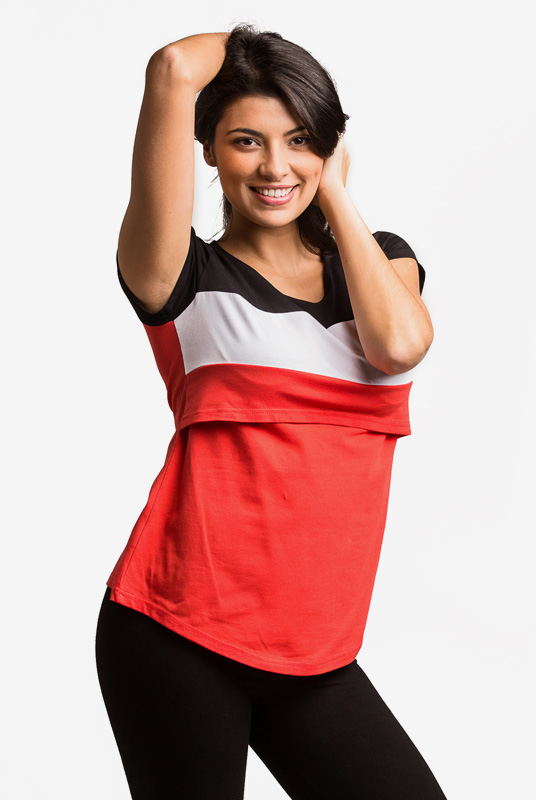 Camiseta Lactancia y Premamá Runa – Rojo/Negro, S
