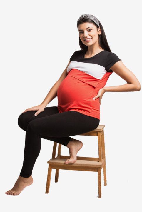 Camiseta lactancia y premama Runa rojo arbol de amor