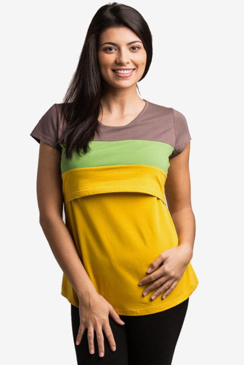 Camiseta lactancia y premama Runa mostaza arbol de amor