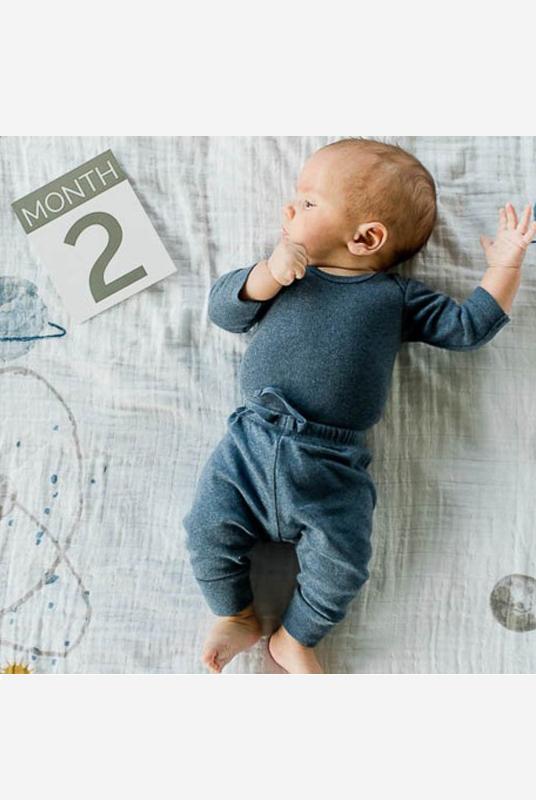Kit fotos bebé Planetas. Fondo Muselina + tarjetas edad
