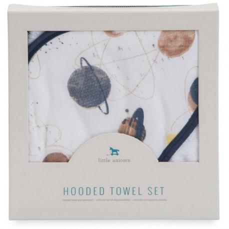 Set de baño algodón Planetas (toalla capa + manopla)