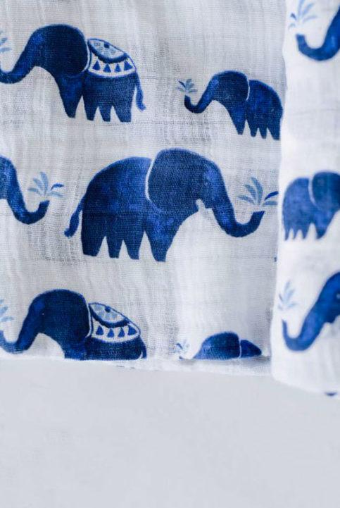 muselina algodon 120x120 de elefantes