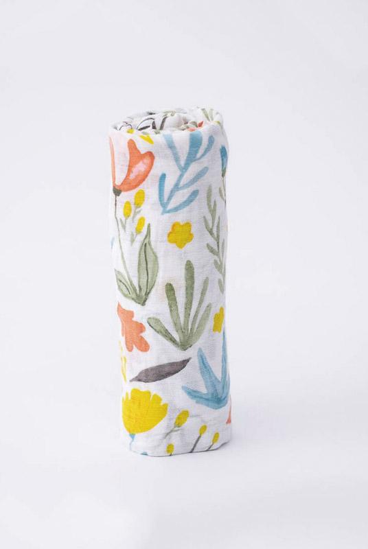 Muselina algodón flores prado 120×120