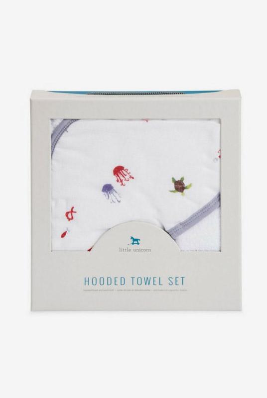 Set de baño algodón Mermaid (toalla capa + manopla)