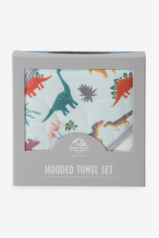 Set de baño algodón dinosaurios blue (toalla capa + manopla)