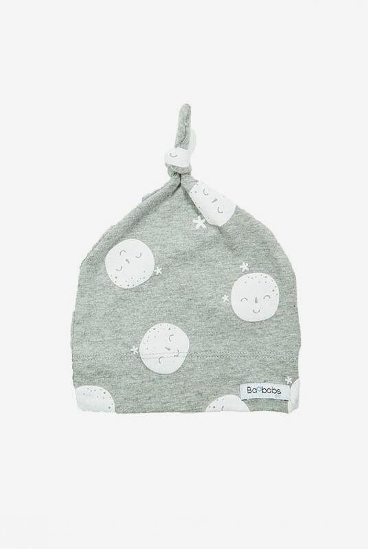 Conjunto recién nacido pijama + gorrito luna blanca 0-1 m