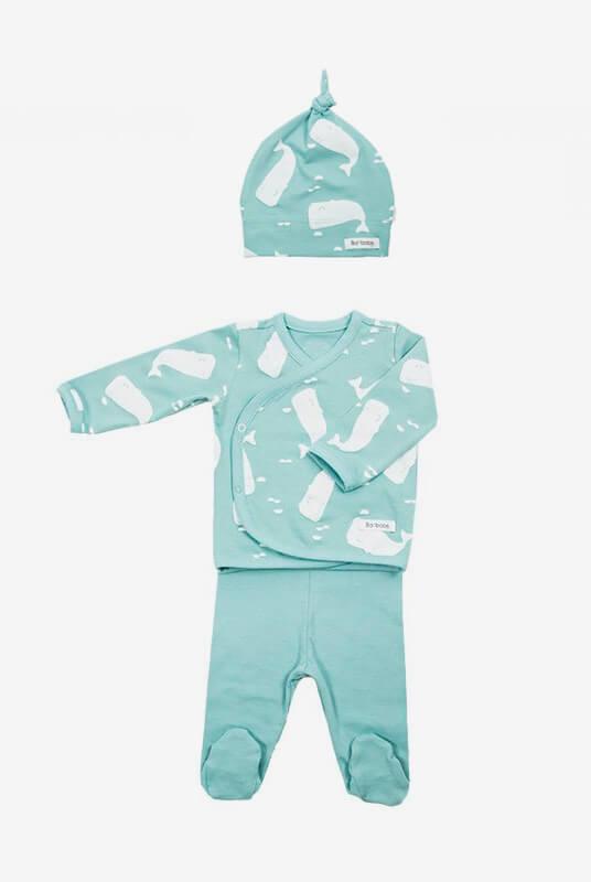 Conjunto recién nacido pijama + gorro ballenas 0-1 m