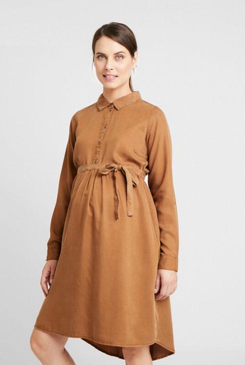 vestido lactancia y embarazo camel