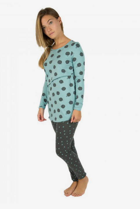 Pijama de lactancia y embarazo Grey and Carbon Moon