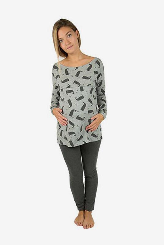 Pijama de lactancia y embarazo ballenas en gris