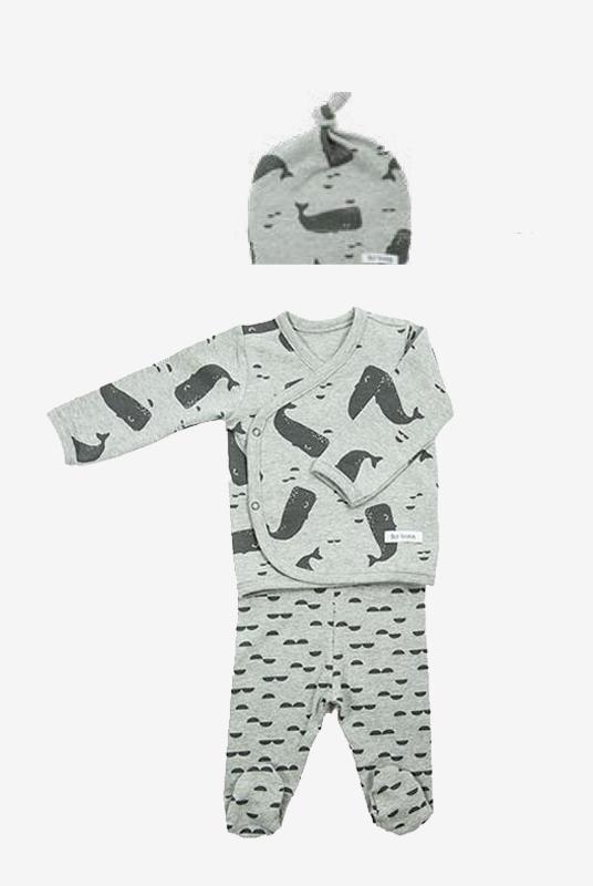 Conjunto recién nacido pijama + gorrito ballenas en gris 0-1 m